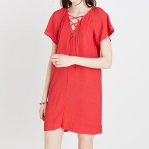 Madewell Lace Up Flutter Sleeve Dress Red Small
